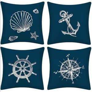 Anchor Seashell Pillow Covers Sea